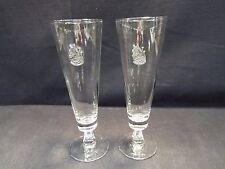 "Set of (2) Rare Budweiser Metal Embossed Clydesdale 8 1/2"" Pilsner Glasses"