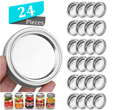 24 x Regular/Wide Mouth Mason Jar Split-Type Lids Silicone Rings Lids Leak Proof