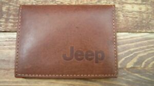 Jeep logo Brown Leather wallet credit card size, licence / ID holder vs933