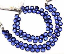 """Tanzanite Gem Color Hydro Quartz Faceted 8MM Heart Shape Briolette Beads 7.5"""""""