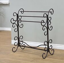 BLANKET RACK Metal Scroll Iron Towel Holder Quilt Black Vintage Style Home Stand