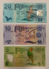 New listing Set Lot Of Fiji $5 $10 $20 dollars New Design Authentic Fijian Currency