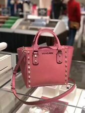 AUTH NWT MK MICHAEL KORS SANDRINE STUD MINI TULIP SAFFIANO LEATHER SATCHEL BAG