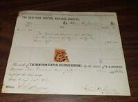 APRIL 1869 NEW YORK CENTRAL RAILROAD NYC PAYMASTER RECEIPT SUPT. JULIUS SPENCER