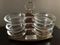 Vintage Midcentury Glass Coaster Set w/ Wooden Holder