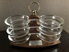 Vintage Midcentury Glass Coaster Set w/ Wooden Holder