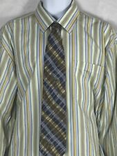 LDS Studios Mens Casual Shirt Green Yellow Striped Button Front Long Sleeve 17.5