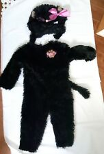 Infant 12-18M Fuzzys by Disguise black cat Costume 2 piece Plush jumpsuit hat