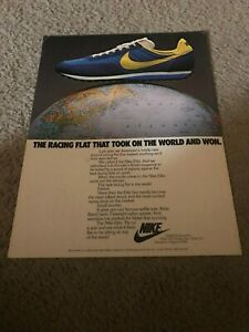 Vintage 1977 NIKE ELITE WAFFLE RACING FLAT Running Shoes Poster Print Ad 1970s