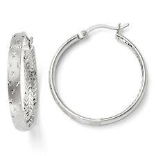 Leslies Sterling Silver Rhodium In/Out Diamond Cut 4mm x 31mm Hoop Earrings