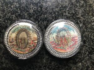 Two Victorian Paperweights showing THE GIGANTIC BIG WHEEL BLACKPOOL