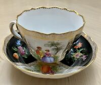 Richard Klemm RK Dresden Vienna Style Courting Couple Black & Gold Cup & Saucer
