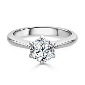 Hallmarked 14K White Gold Solitaire 2.00 Carat Diamond Engagement Rings Size M N