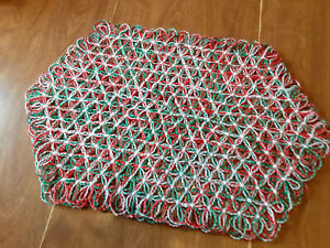 2 Christmas Placemats Handmade with sparkly Red and Green Yarn