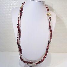Tumbled garnet pink quartz gemstone torsade necklace, art nouveau style findings