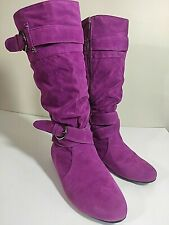 """Yoki """"Trisha 12"""" Knee Boots Faux Suede Pink 8 Side Zip Studs Strap Buckle Accent"""