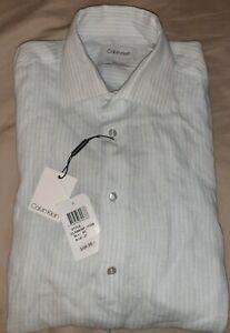 NEW Calvin Klein Mens Blue White Stipe Casual Dress Linen Shirt Size 38