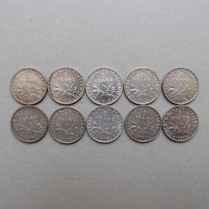 Lot 10 pièces de 1 Franc SEMEUSE ARGENT (1)