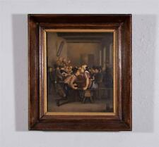 Antique Oil on Panel Painting of a Tavern with a Courting Couple