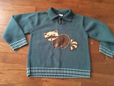 Gymboree Boys NIGHT FOREST Raccoon Sweater Size 5 5t