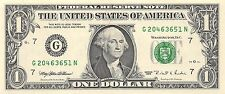 1995 series G/N (CHICAGO) $1 Federal Reserve Note One Dollar Bill