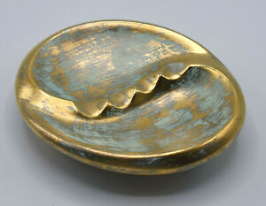 """Vintage Stangl Pottery """"Antique Gold"""" Pattern Large Cigar Ashtray Tray #3024"""