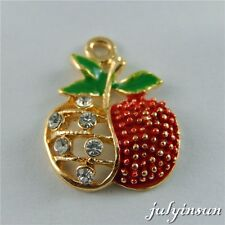 10PCS Colorful Alloy Hollow Crystal Apple Pendants Charms DIY Accessories 50657