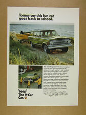 1970 Jeep Wagoneer green truck towing boat photo vintage print Ad