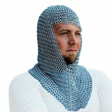 New listing Chainmail Coif Aluminum V-neck Chain mail Hood Medieval Reenacment Armor Auction