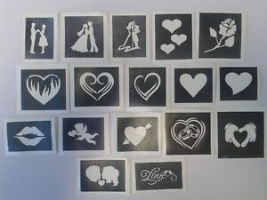 10 - 400 Valentine themed stencils for etching on glass  hobby craft love