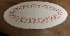 Vintage Oval Table Centre or Dressing Tablemat 52cmx28cm~Hand Embroidered