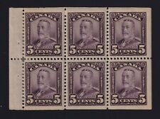 Canada Sc #153a (1928) 5c violet George V Scroll BOOKLET PANE Mint H