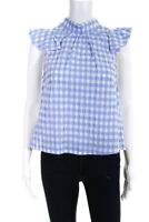 McGuire Womens Short Sleeve Button Down Back Blouse Blue Ruffled Size Small