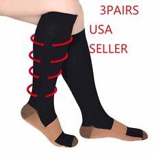 (3 Pairs) Compression Socks Hg Knee High Copper  Mens / Womens S-XXL USA