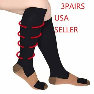 (3 Pairs) Compression Socks Hg Knee High Copper  Mens / Womens S-XXL USA