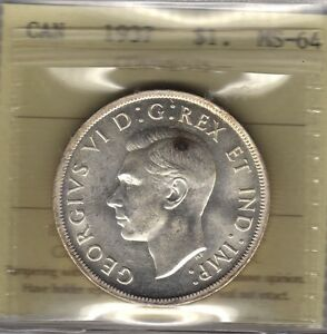 1937 Canada Silver Dollar Coin. ICCS MS-64