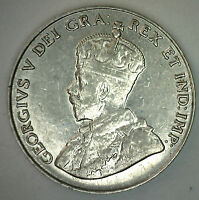 1934 Canadian Nickel 5 Cents Coin Five Cent George V Canada Type Coin XF