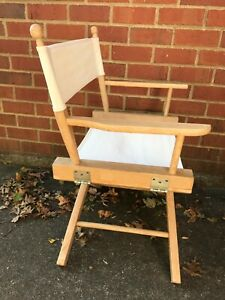 Vintage White Folding Captain's Director's Chair Canvas Wooden Frame