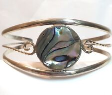 "- 7 1/2"" Around Alpaca Mexico Abalone Cuff Bracelet"