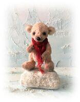 """Miniature 3 3/4"""" Faux Fur Teddy Bear OOAK Little Antiqued Artist Bears"""