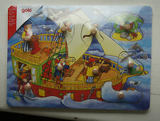 Goki 9 Piece Wood Hidden Picture Lift Out Puzzle Pirate Ship