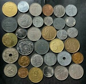 Vintage Belgium Coin Lot - 1862-PREEURO - 36 Collectible Coins - Lot #L22