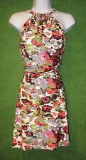 BCBG White Mulitcolor Neon Meadow Jersey Keyhole Social Dress XS $180 MISC
