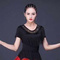 Lady Latin Dance Blouse T-shirt Top Ballroom Salsa Tango Tassel Practice Fashion