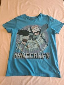 Marks and spencer Minecraft T Shirt Blue Age 12-13 Years Used.