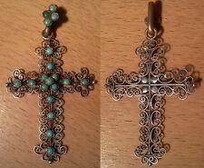 Ancienne croix bijoux crucifix pendentif fil argent tressé et turqoise XIX ème