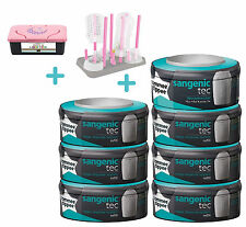 Sangenic Casete 7 pack + Rack de secado + Dispensador Toallitas color Rosa Pink
