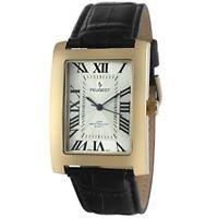 Peugeot Men's Vintage Rectangular 14K Gold Plated Black Leather Strap Watch