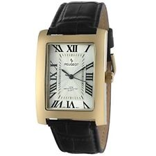 Peugeot Men's Vintage Rectangular 14K Gold Plated Black Leather Strap Watch