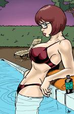 Velma poolside scooby doo horror comic sexy art signed 11x17 print Rod Jacobsen